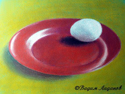 яйцо на тарелке пастелью