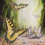Картина с бабочками цветными карандашами