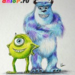 Как нарисовать Майка и Салли из мультфильма «Корпорация Монстров»