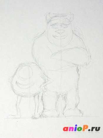 """Как нарисовать Майка и Салли из мультфильма """"Корпорация Монстров"""""""