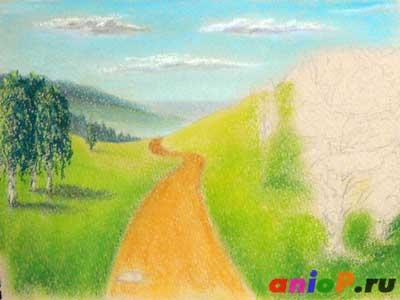 Пейзаж пастелью