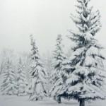 Рисование зимнего пейзажа