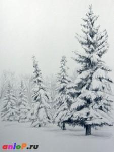 Мастер класс зимнего пейзажа