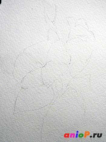 Акварельный рисунок цветка Ипомеи