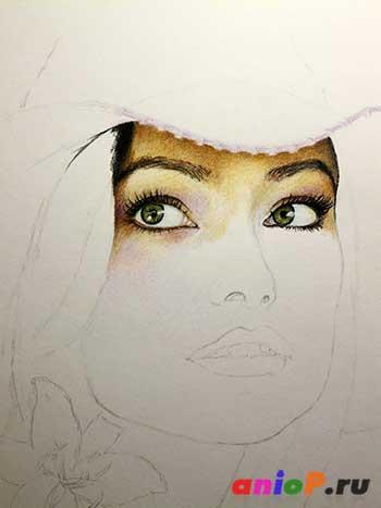 Глаз акварельными карандашами