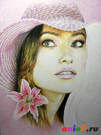 Портрет Оливии Уайлд акварельными карандашами