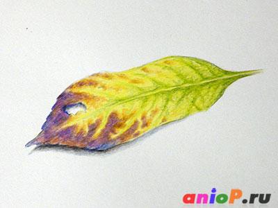 Осенний лист карандашами
