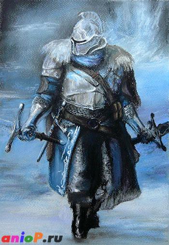 Рисунок Dark Souls сухой пастелью