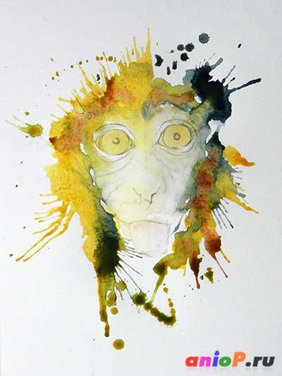 акварельные брызги в портрете обезьяны