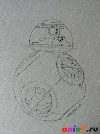 Рисунок BB-8 карандашом
