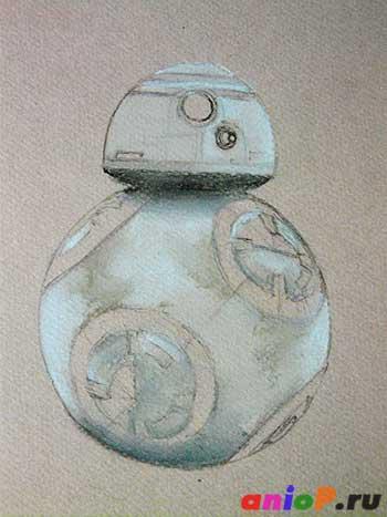 Рисуем робота BB-8 пастелью
