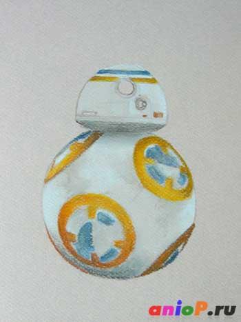 Робот BB-8 сухой пастелью