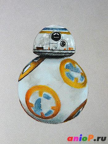 Рисунок робота BB-8 пастелью