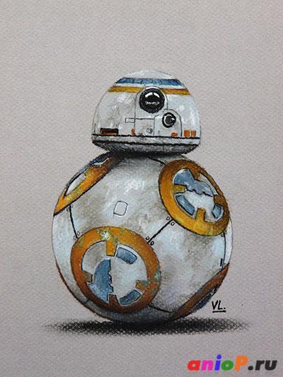 Робот BB-8 - рисунок пастельными карандашами