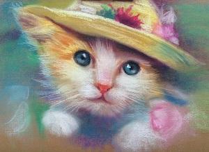 Кошка пастелью