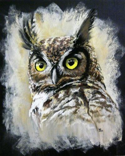 Рисунок совы пастелью