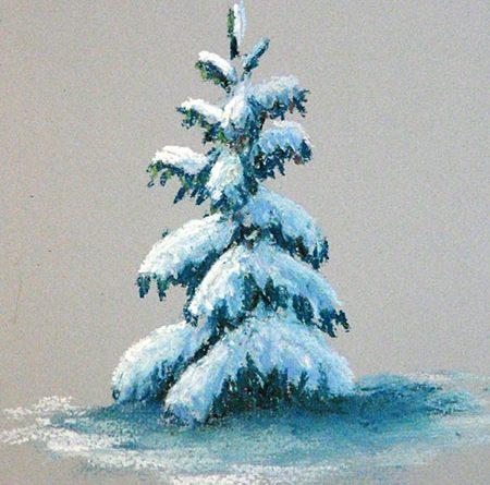 как нарисовать елку пастелью