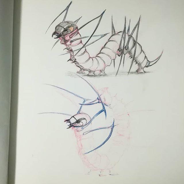 Адская гусеница, концепт-арт. #рисунки #скетч #карандаш #цветныекарандаши #гусеница #рисование #sketch #drawing #concept-art #концепт-арт #из_старых_рисунков