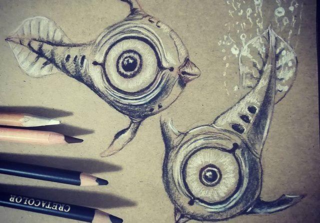 Рыба Пискун. По мотивам #Subnautica. #рисунки #скетч #уголь #рисование #пастель #sketch #drawing #pastel #charcoal #fish #рыба