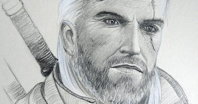Портрет ведьмака простыми карандашами