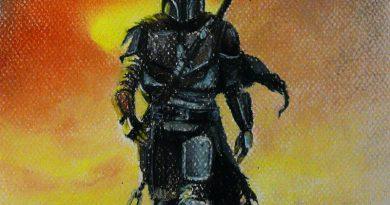 Рисунок мандалорца пастелью (из сериала Мандалорец)
