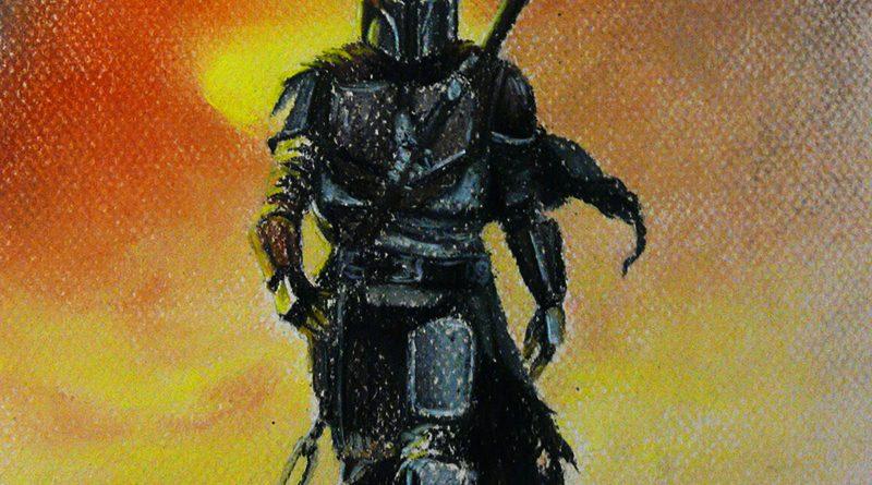 Мандалорец - рисунок сухой пастелью