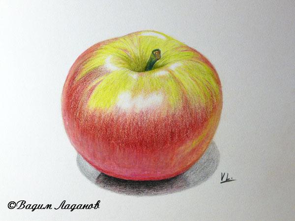 рисуем яблоко акварельными карандашами