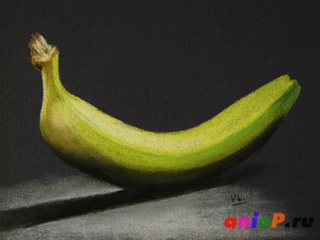 Как нарисовать банан пастелью