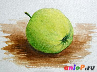яблоко акварелью