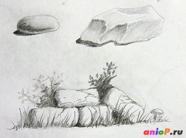 камни простым карандашом